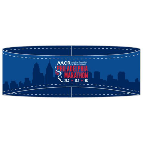 Sublimated Tech Ear Warmer -Blue 'AACR Skyline Design' - AACR Philadelphia Marathon