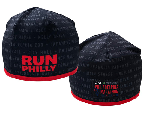 Sublimated Tech Beanie -Black / Red Trim 'AACR Landmarks Design' - AACR Philadelphia Marathon