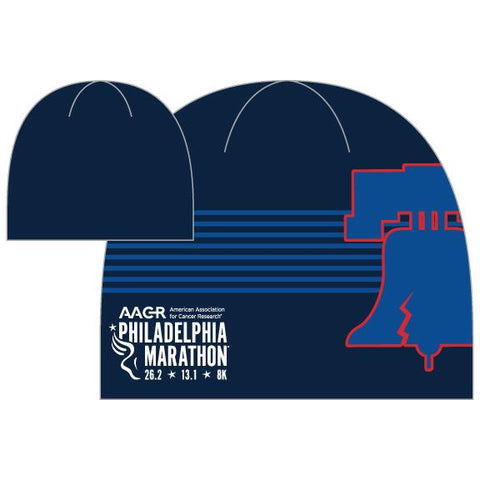 Sublimated Fleece Beanie -Navy / Navy 'AACR Liberty Bell Design' - AACR Philadelphia Marathon