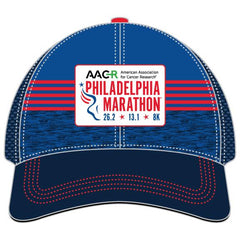 Relaxed Fit Tech Trucker -Blue / Navy / Red Stripes 'AACR Design' - AACR Philadelphia Marathon