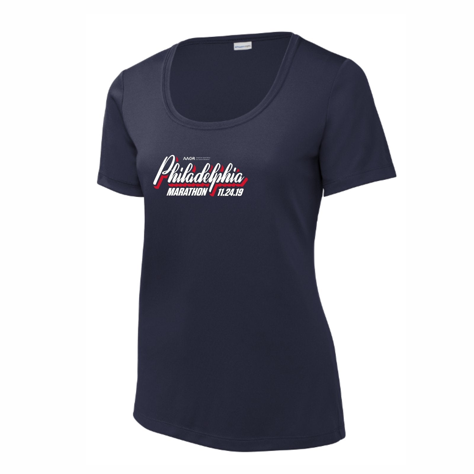 Women's SS UPF50 Tech Scoop Tee -True Navy 'AACR 2019 Course Design' - AACR Philadelphia Marathon