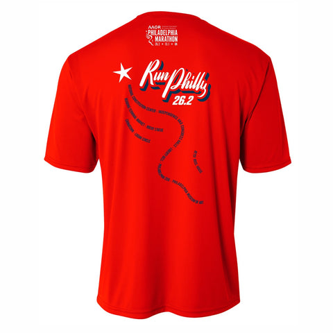 Men's SS Tech Tee -Scarlet 'AACR 2019 Course Design' - AACR Philadelphia Marathon