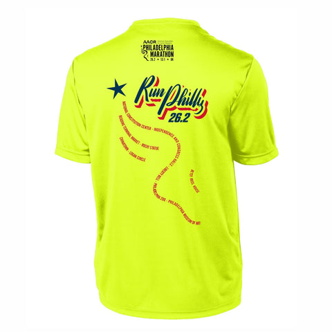 Men's SS Tech Tee -Neon Yellow 'AACR 2019 Course Design' - AACR Philadelphia Marathon