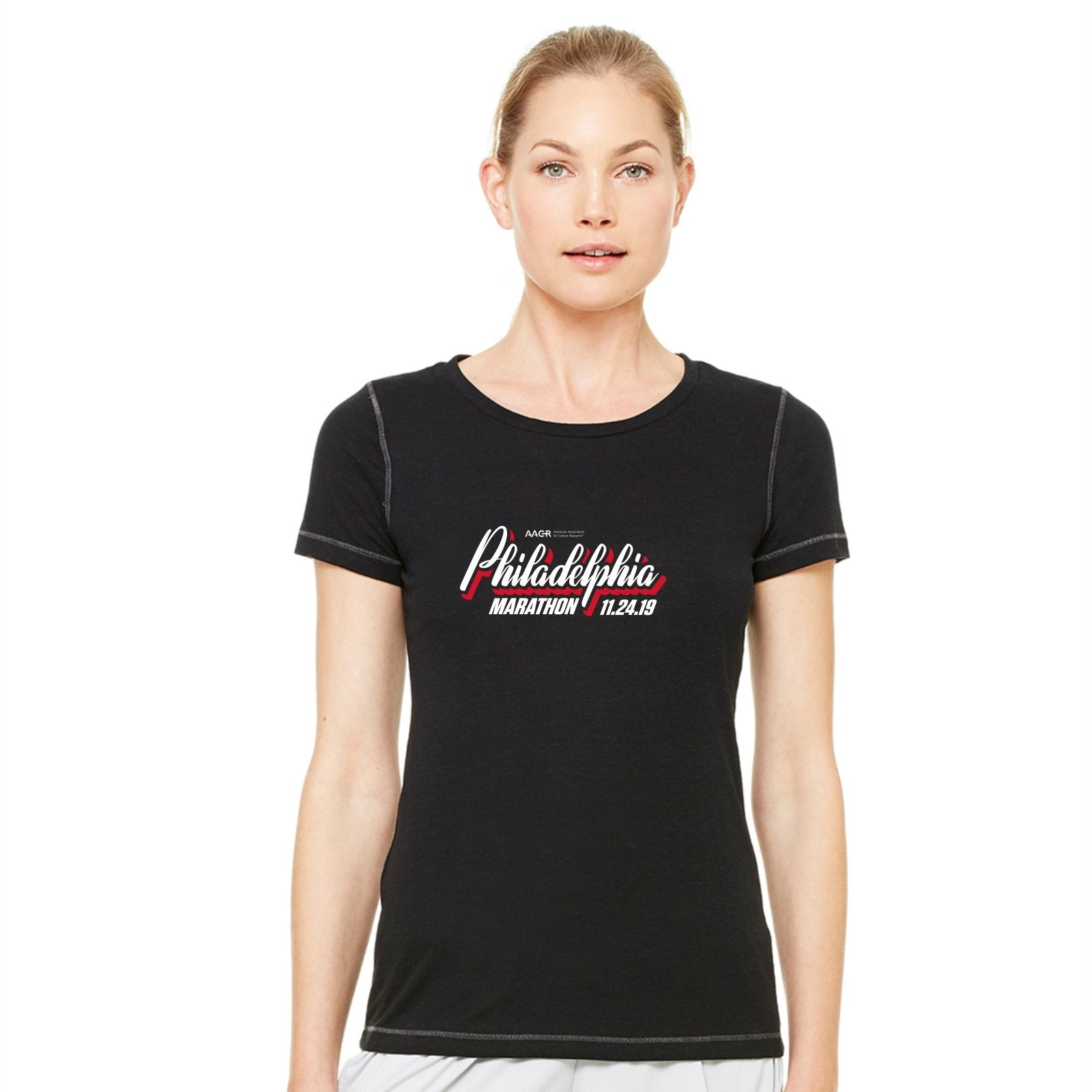 Women's SS Triblend Tee -Solid Black 'AACR 2019 Course Design' - AACR Philadelphia Marathon