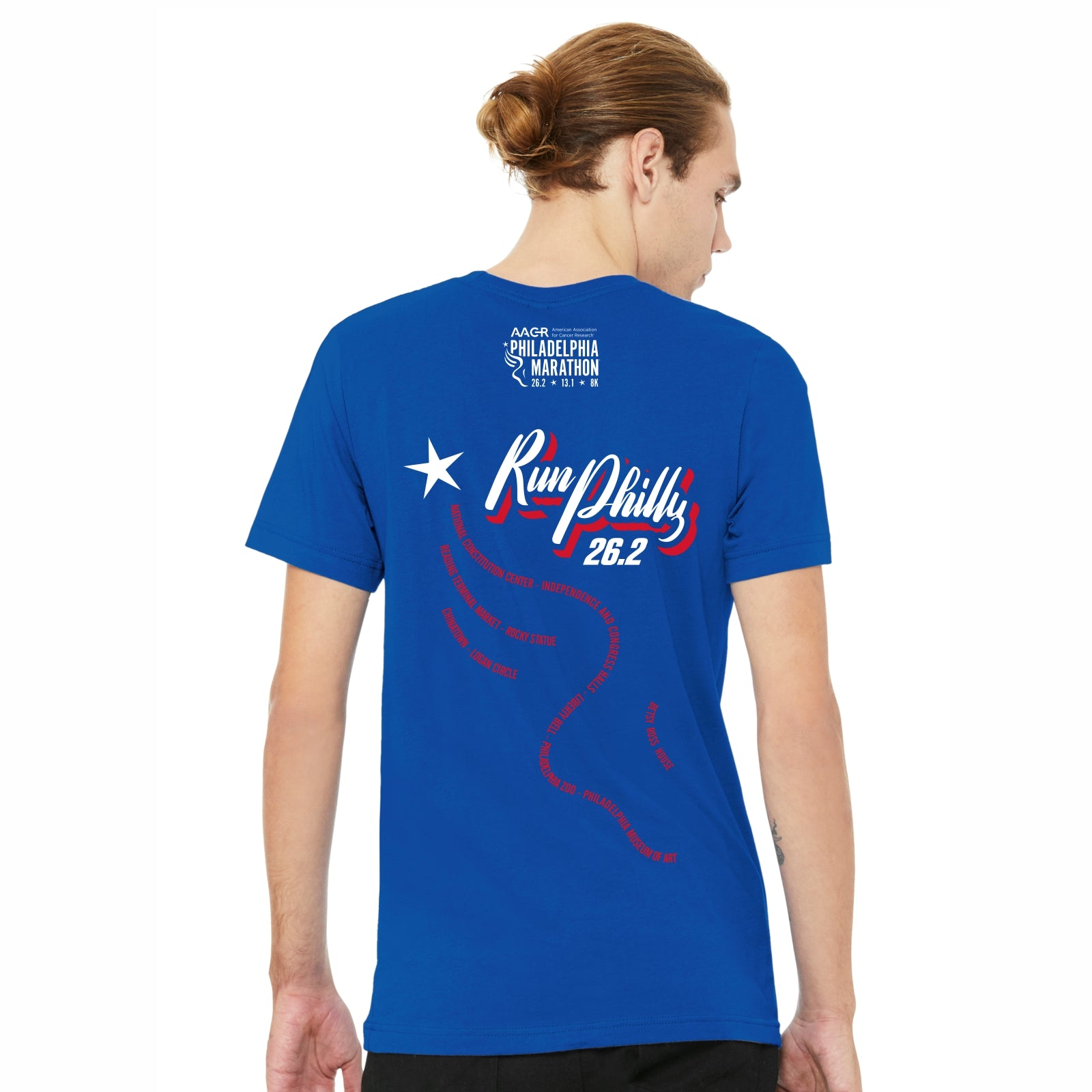Men's SS Ringspun Tee -True Royal 'AACR 2019 Course Design' - AACR Philadelphia Marathon