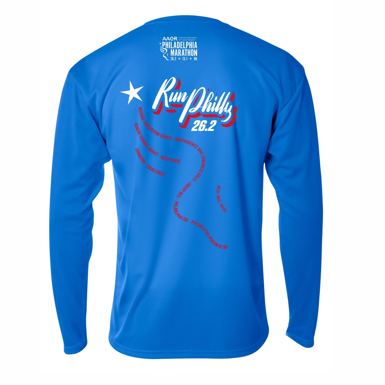 Men's LS Tech Tee -Royal 'AACR 2019 Course Design' - AACR Philadelphia Marathon