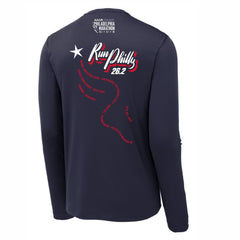 Men's LS Tech Tee -True Navy 'AACR 2019 Course Design' - AACR Philadelphia Marathon