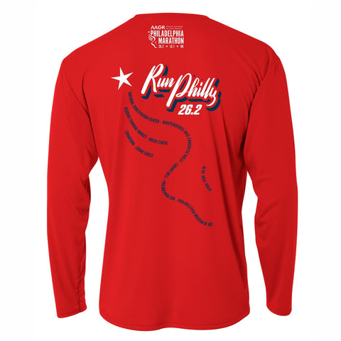 Men's LS Tech Tee -Scarlet 'AACR 2019 Course Design' - AACR Philadelphia Marathon