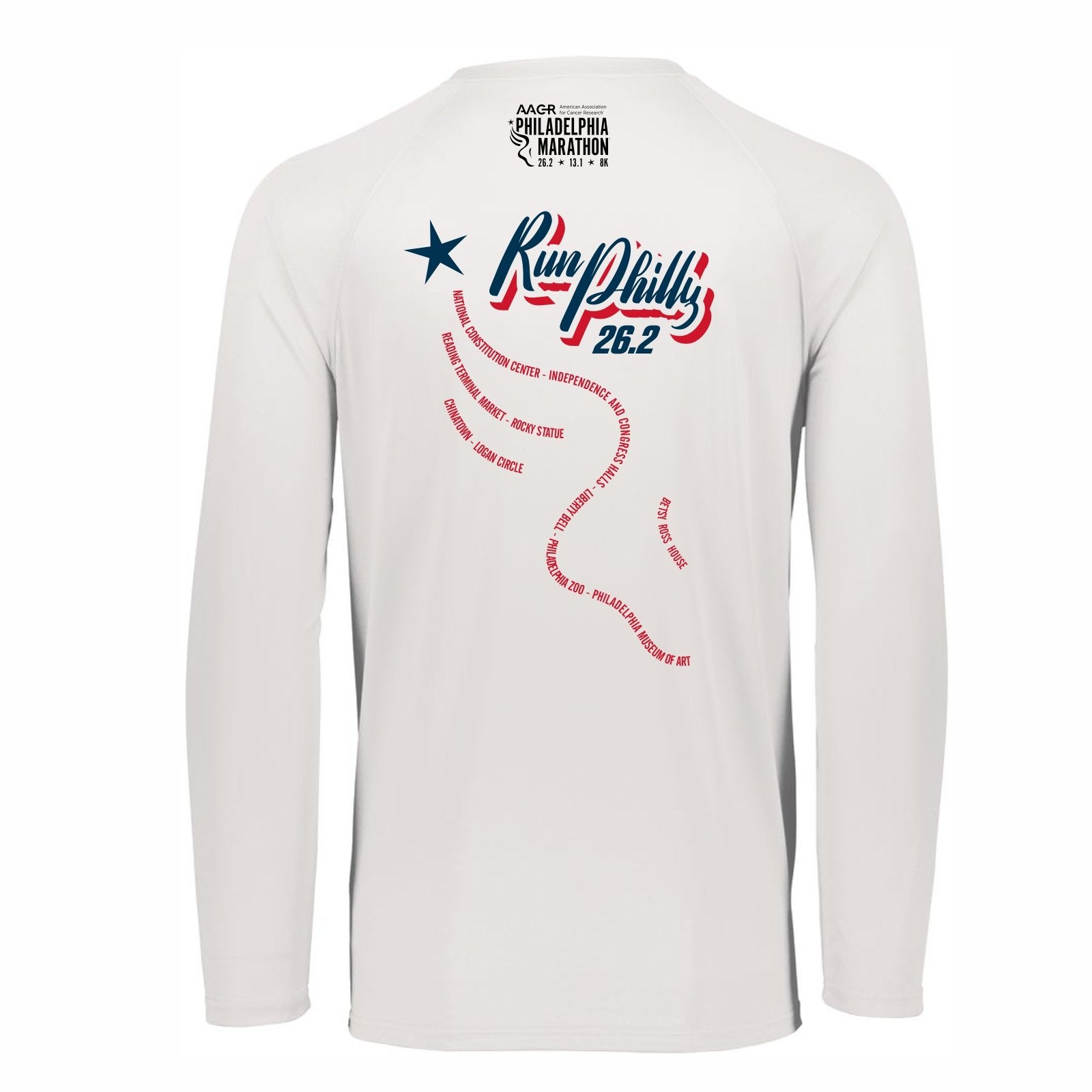 Women's LS Tech V-Neck Tee -White 'AACR 2019 Course Design' - AACR Philadelphia Marathon