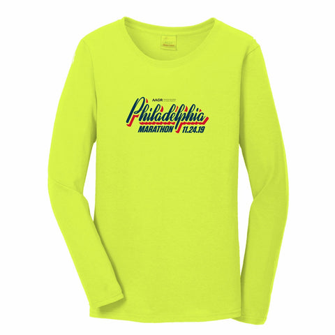 Women's LS UPF44 Tech Tee -Safety Yellow 'AACR 2019 Course Design' - AACR Philadelphia Marathon