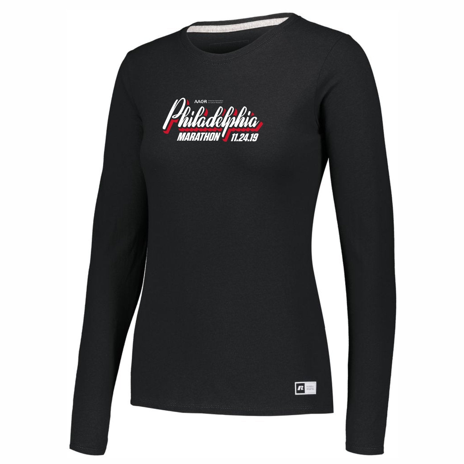 Women's LS UPF30 Tech CVC Tee -Black 'AACR 2019 Course Design' - AACR Philadelphia Marathon