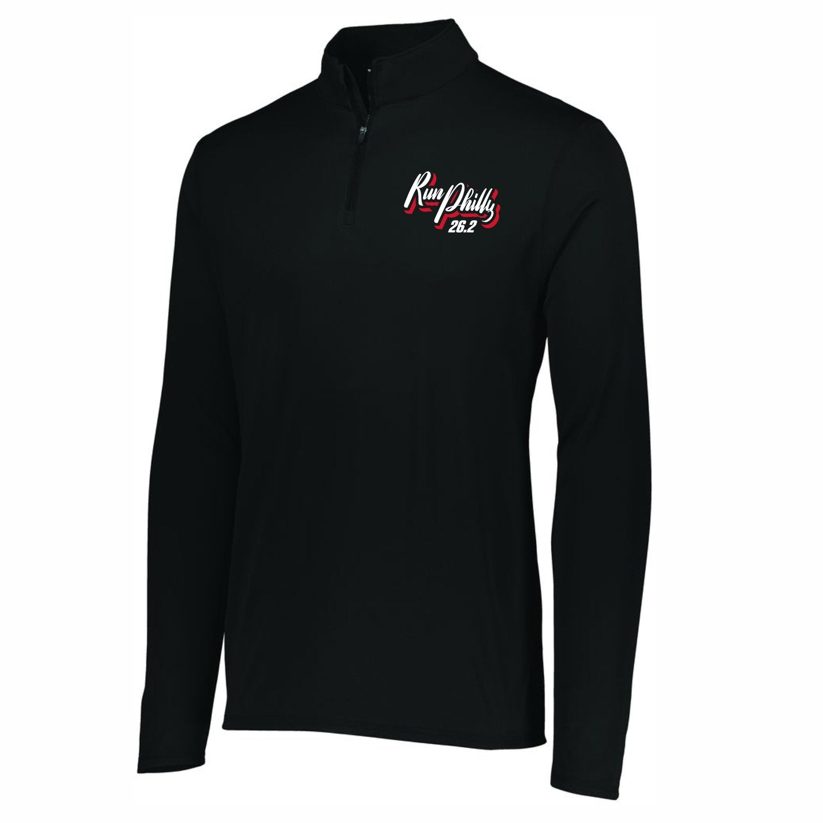 Men's Tech 1/4 Zip -Black 'AACR 2019 Course Design' - AACR Philadelphia Marathon