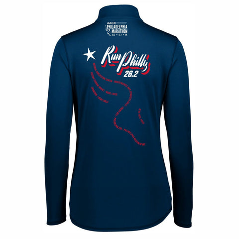 Women's Tech 1/4 Zip -Navy 'AACR 2019 Course Design' - AACR Philadelphia Marathon