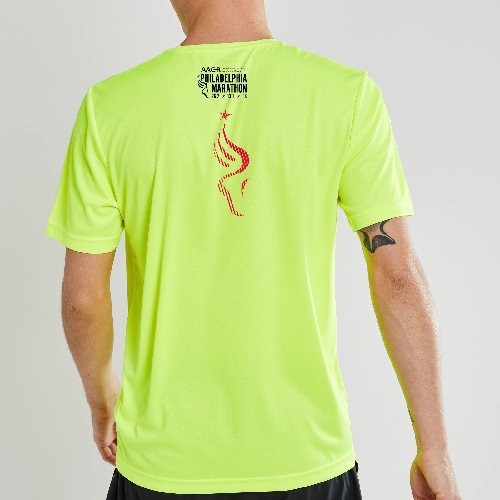 Men's SS Tech Tee -Hi Viz 'LCP Run Philly Design' - AACR Philadelphia Marathon