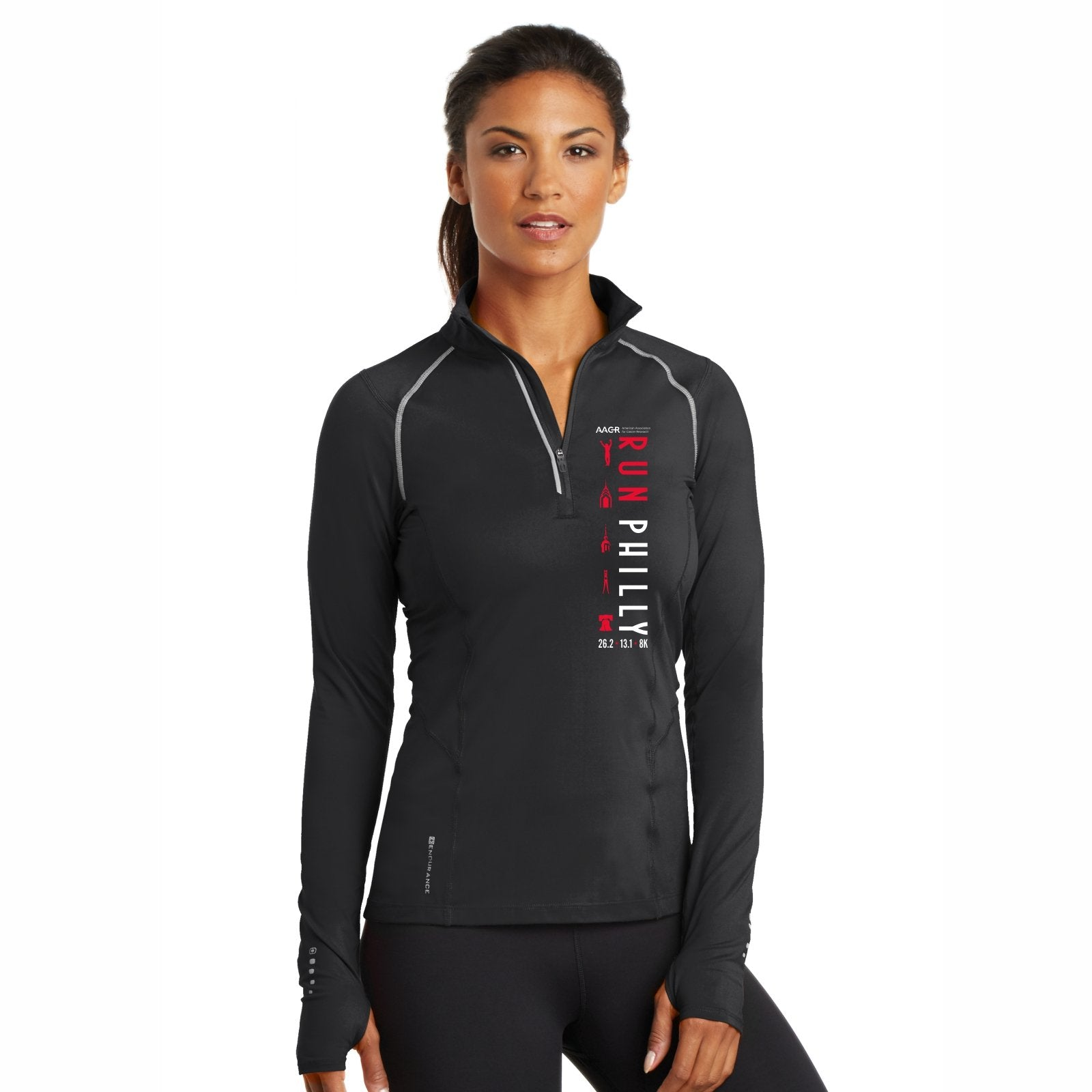 Women's OGIO Tech 1/4 Zip -Blacktop 'LCP Run Philly Design' - AACR Philadelphia Marathon