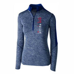 Women's Contrast Color Tech 1/2 Zip -Navy Heather / Navy 'LCP Run Philly Design' - AACR Philadelphia Marathon