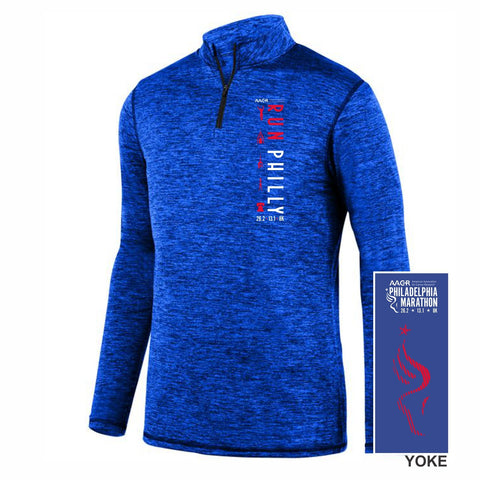 Men's Heathered Tech 1/4 Zip -Royal 'LCP Run Philly Design' - AACR Philadelphia Marathon