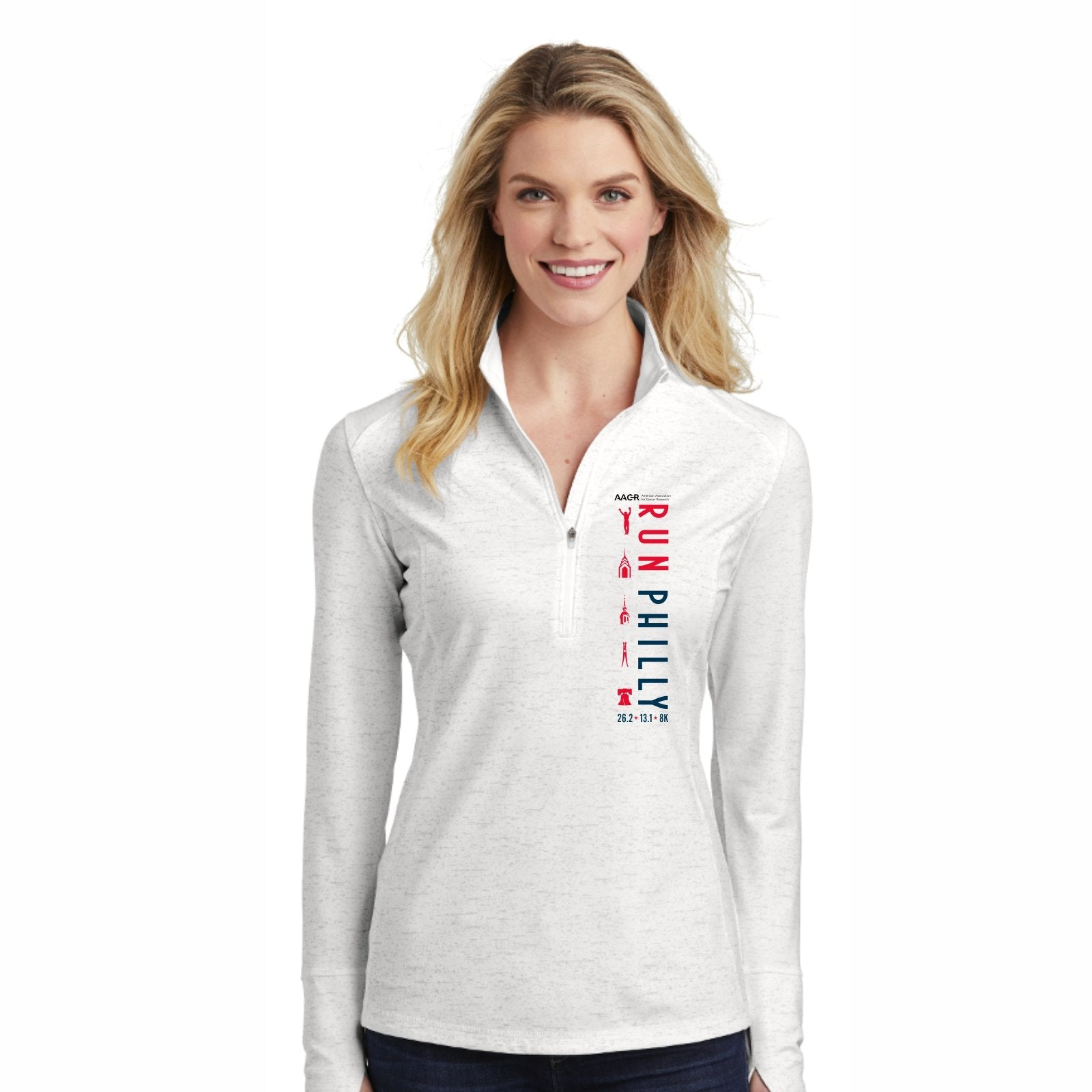 Women's Reflective Tech 1/2 Zip -White 'LCP Run Philly Design' - AACR Philadelphia Marathon