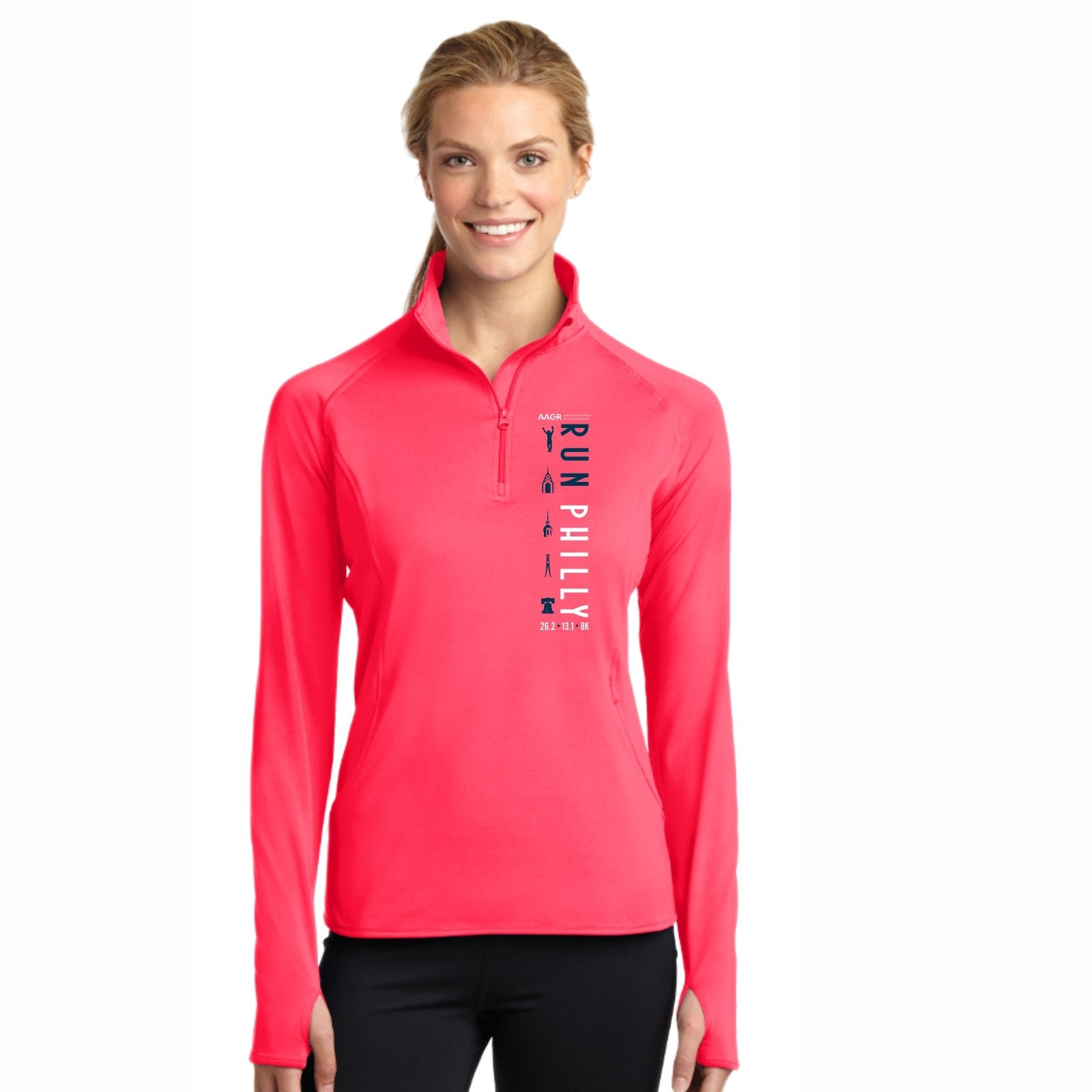 Women's Thumbhole Tech 1/2 Zip -Hot Coral 'LCP Run Philly Design' - AACR Philadelphia Marathon