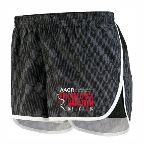 "Women's Patterned Micropoly 3.5"" Runner's Shorts -Black Plexus Print/White 'AACR Logo Design' - AACR Philadelphia Marathon"