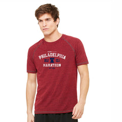 Men's SS Triblend Tee -Red Heather 'Arch Design' - AACR Philadelphia Marathon