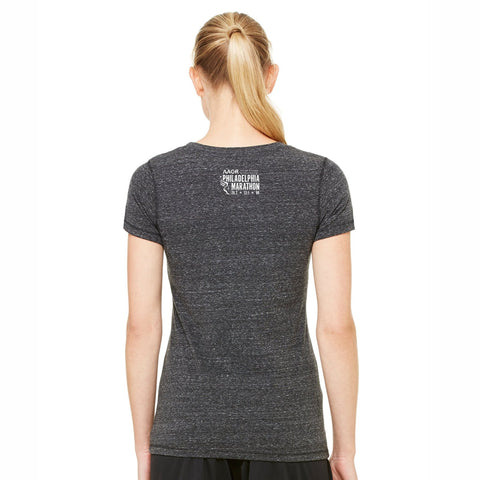Women's SS Triblend Tee -Charcoal Heather 'Arch Design' - AACR Philadelphia Marathon