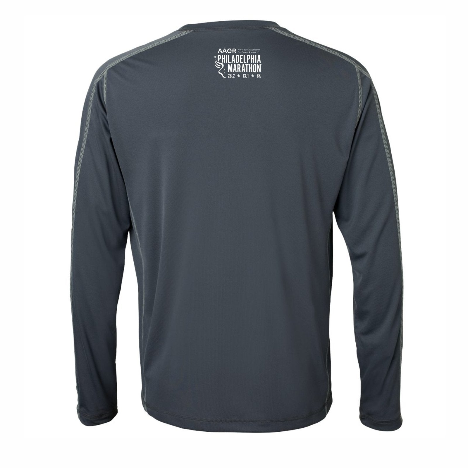 Men's LS Contrast-Stitch Tech Tee -Slate Grey 'Arch Design' - AACR Philadelphia Marathon
