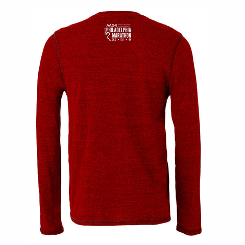 Men's LS Triblend Tee -Heather Red 'Arch Design' - AACR Philadelphia Marathon