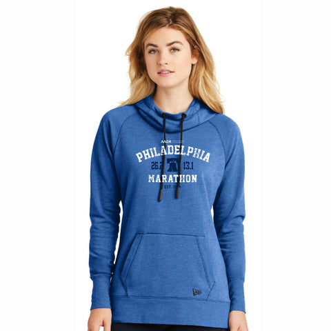 Women's New Era Triblend Fleece Hoody -Royal Heather 'Arch Design' - AACR Philadelphia Marathon