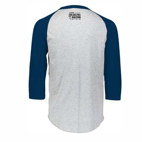 Men's 3/4 Sleeve Baseball Tee -Athletic Heather / Navy 'Arch Design' - AACR Philadelphia Marathon