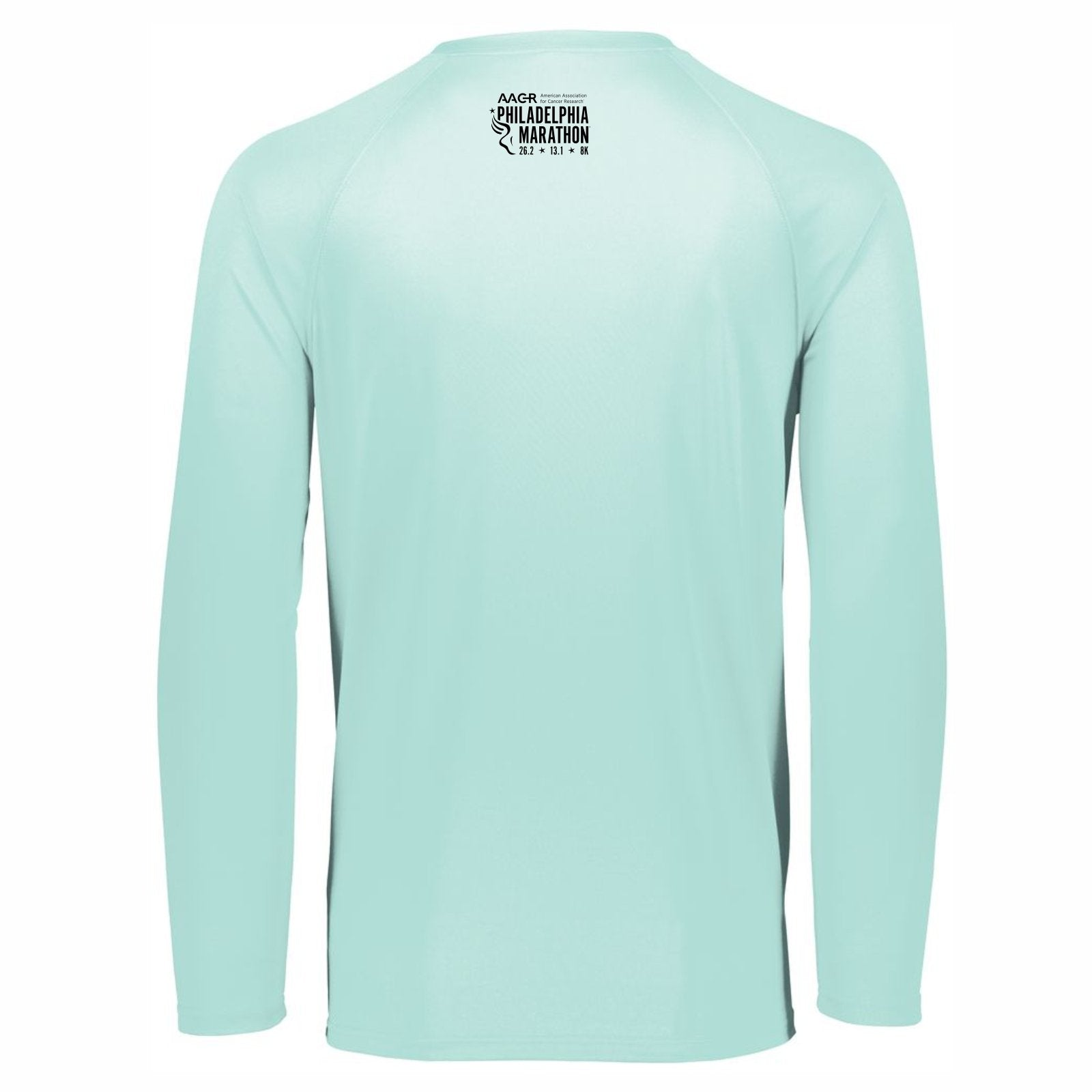Women's LS Tech V-Neck Tee -Sea Foam 'Classic Design' - AACR Philadelphia Marathon