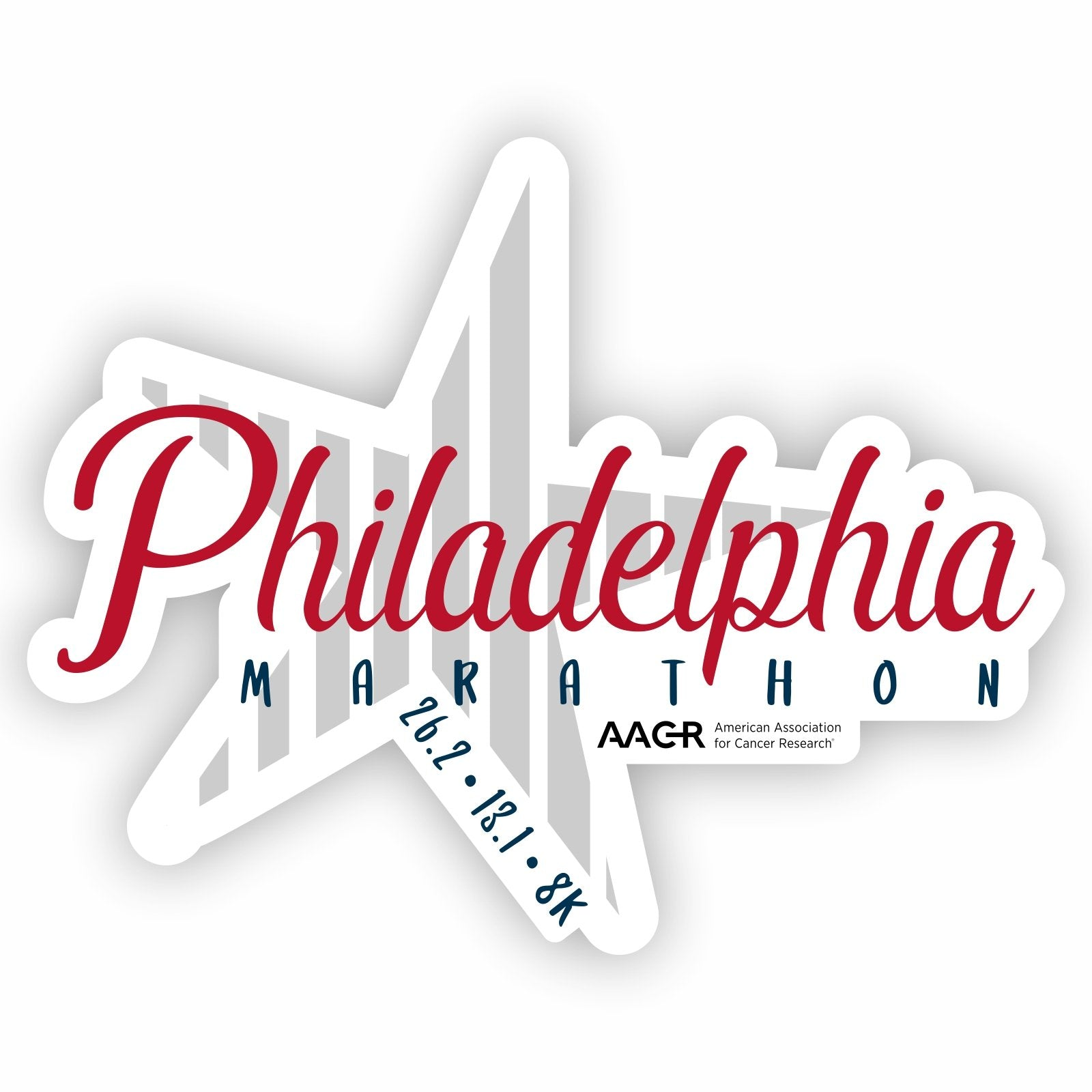 26.2 Sticker -White Die-Cut 'AACR Star Design' - AACR Philadelphia Marathon
