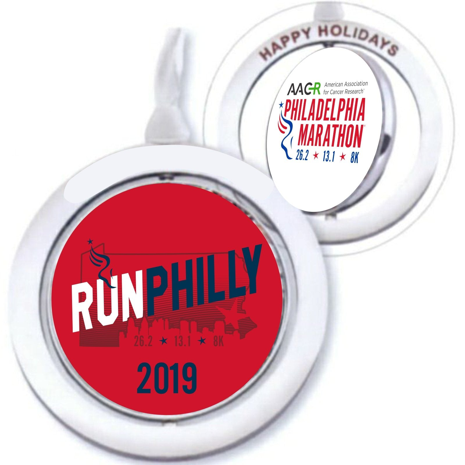 "Spinning 2.25"" Ornament -Red / White 'AACR 2019 Run Philly Design' - AACR Philadelphia Marathon"