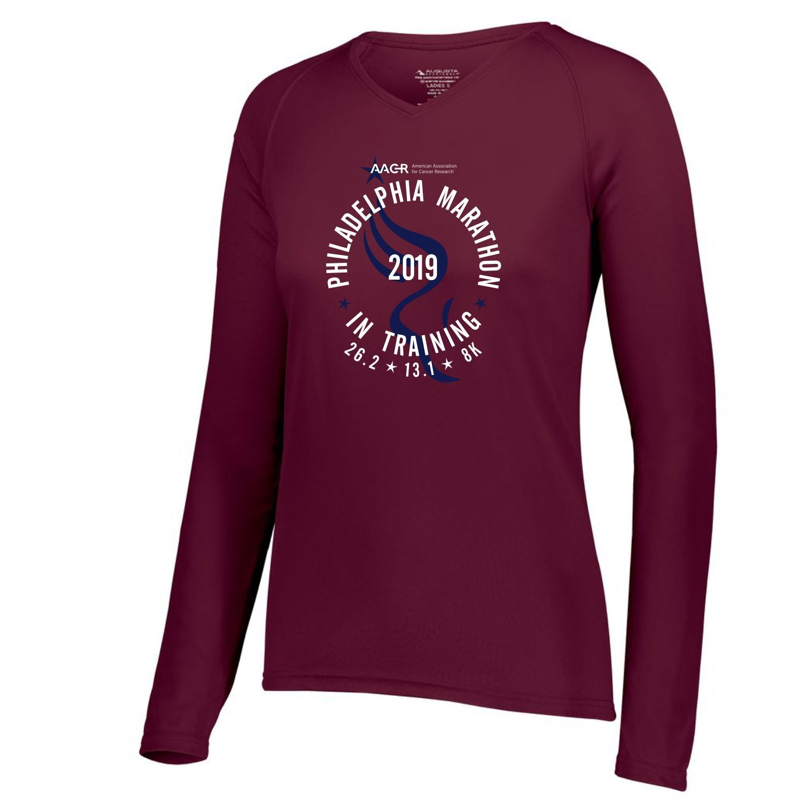 AACR Philadelphia Marathon 'In Training 2019' Women's LS Tech V-Neck Tee