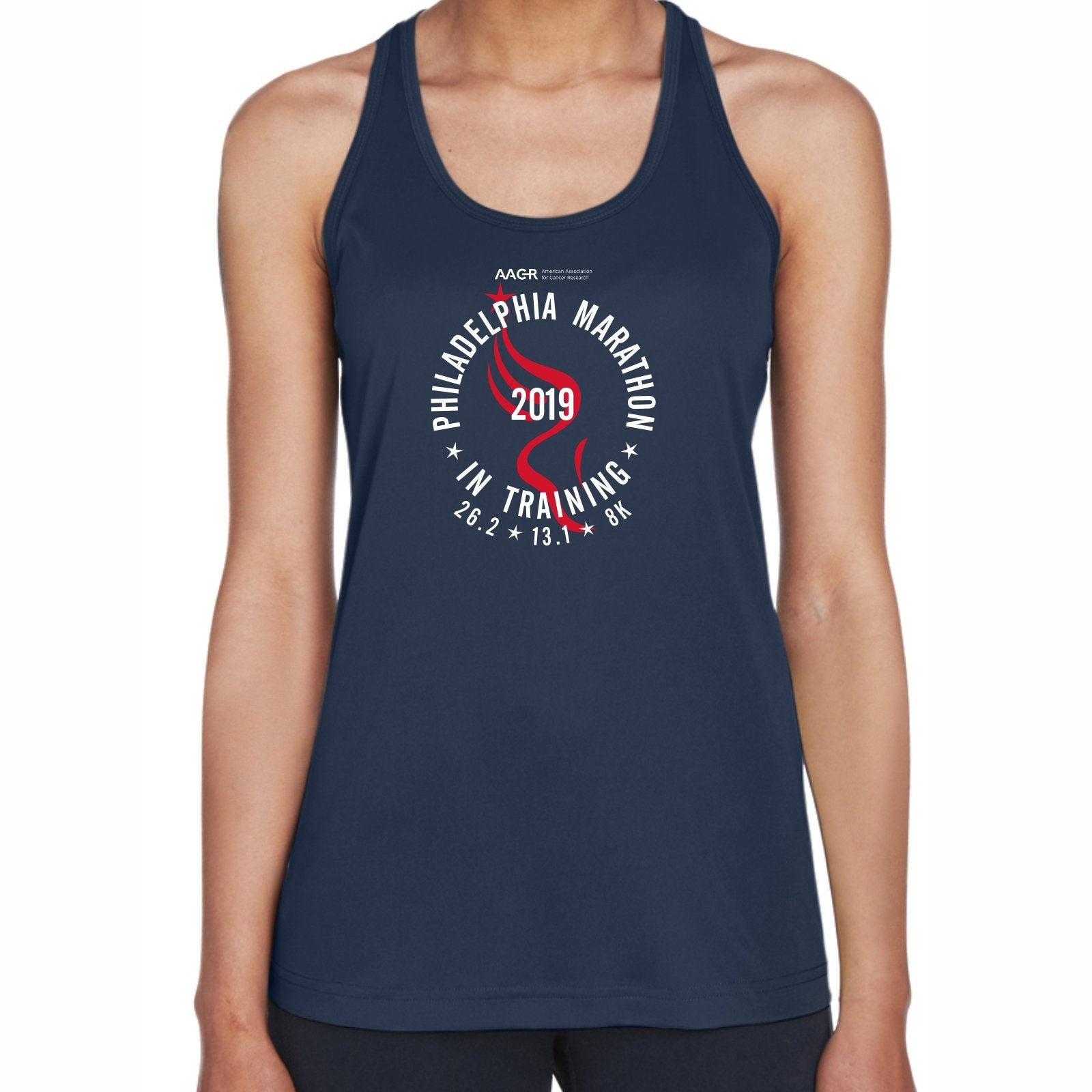 2019 AACR Philadelphia Marathon Women's In-Training Sports Tank - Navy