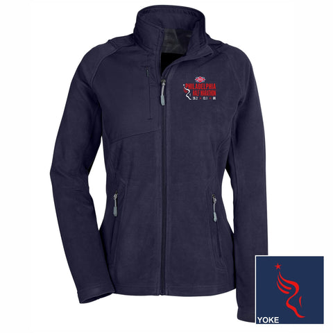 Women's Fabric-Block Fleece Zip Jacket -Navy 'Left Chest Embr. Design' - Dietz & Watson Philadelphia Half Marathon