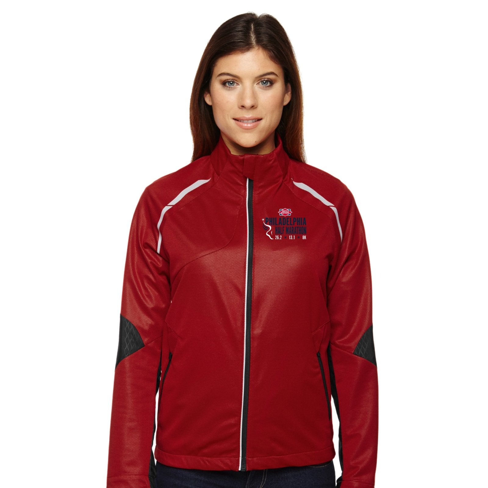 Women's 'Dynamo' Bonded Zip Jacket -Olympic Red 'Left Chest Embr. Design' - Dietz & Watson Philadelphia Half Marathon