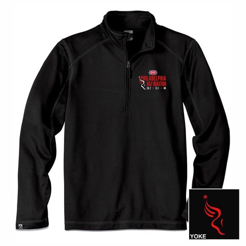 Men's UPF 30 Jacquard 1/4 Zip -Black 'Left Chest Embr. Design' - Dietz & Watson Philadelphia Half Marathon