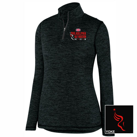 Women's Heathered Tech 1/4 Zip -Black 'Left Chest Embr. Design' - Dietz & Watson Philadelphia Half Marathon