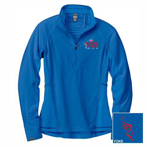 Women's Patterned Tech 1/4 Zip -Cobalt / Ocean 'Left Chest Embr. Design' - Dietz & Watson Philadelphia Half Marathon