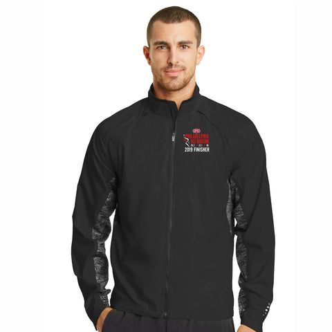 Men's Reflective Water-Resistant Zip Jacket - Black 'Finisher Embr. 2019 Design' - Dietz & Watson Philadelphia Half Marathon