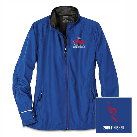 Women's Packable Zip Stretch Jacket - Blue Jay 'Finisher Embr. 2019 Design' - Dietz & Watson Philadelphia Half Marathon