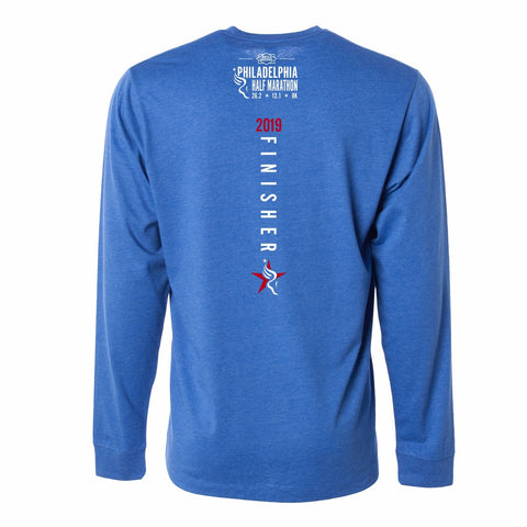 Men's '2019 Finisher' LS CVC Tee -Royal Heather - Dietz & Watson Philadelphia Half Marathon