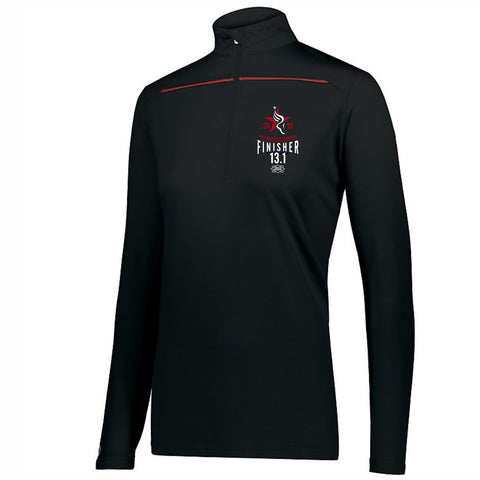 Women's '2019 Finisher' Contrast Color Tech 1/4 Zip -Black / Scarlet - Dietz & Watson Philadelphia Half Marathon