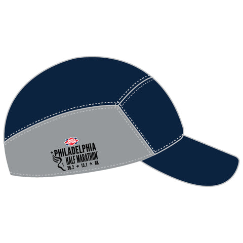 Run Tech Cap -Navy / Grey 'Half Circle Bell Design' - Dietz & Watson Philadelphia Half Marathon