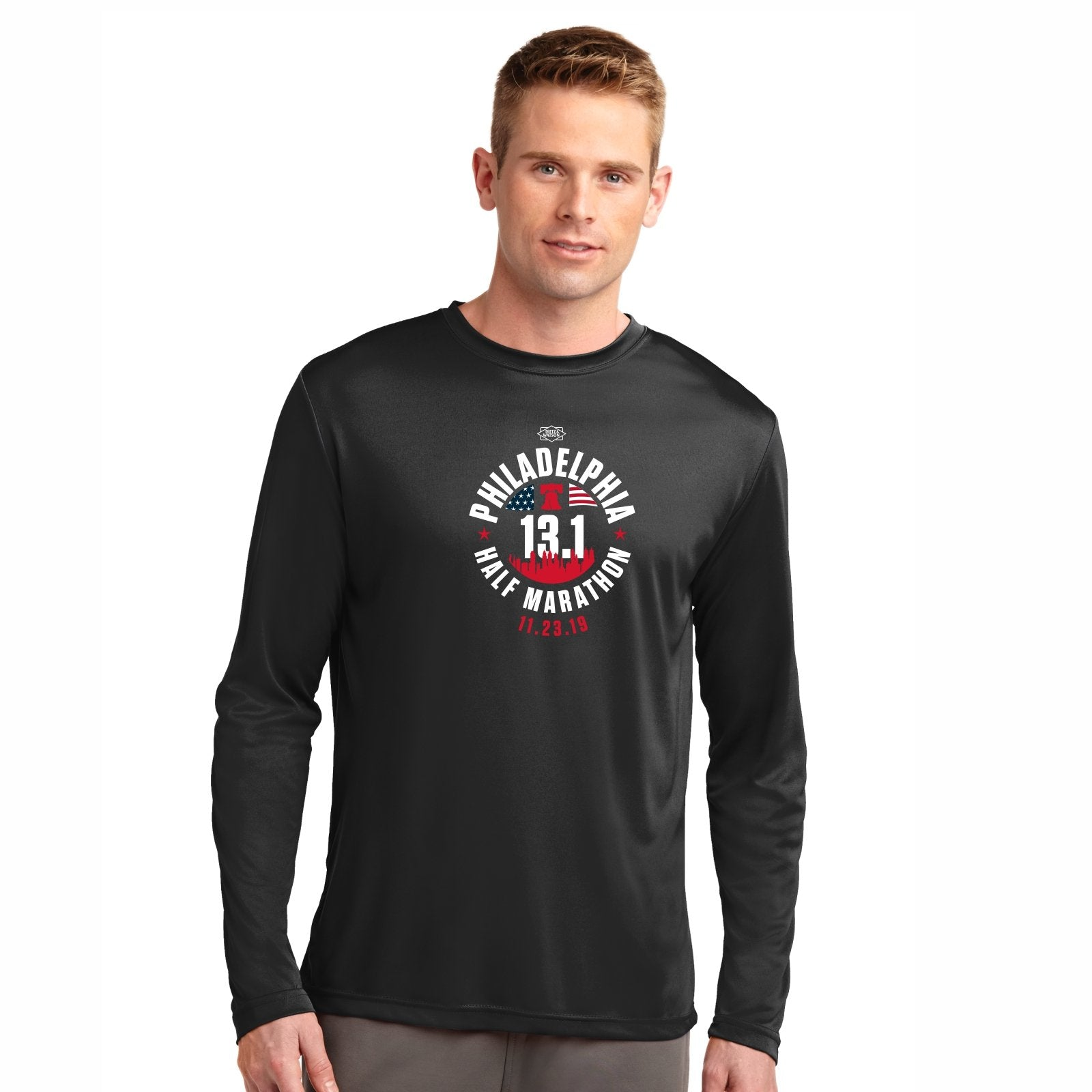 Men's LS Tech Tee -Black 'Course 2019 Design' - Dietz & Watson Philadelphia Half Marathon