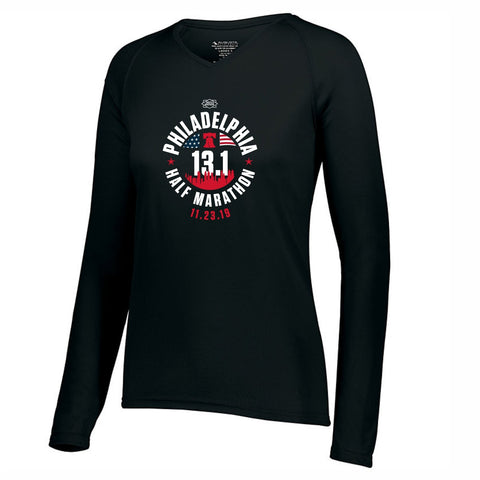Women's LS Tech V-Neck Tee -Black 'Course 2019 Design' - Dietz & Watson Philadelphia Half Marathon