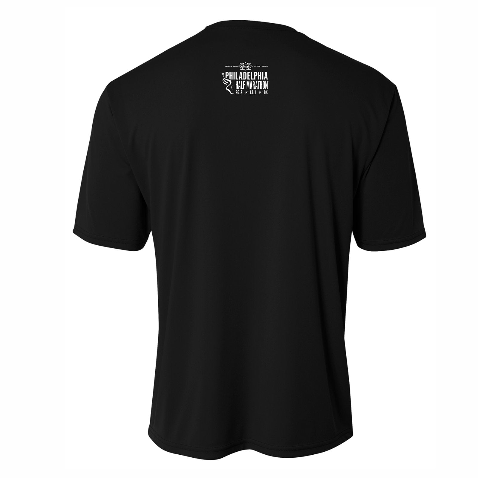 Men's SS Tech Tee -Black 'Left Chest Print Design' - Dietz & Watson Philadelphia Half Marathon