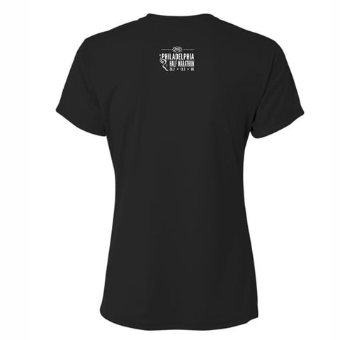 Women's SS Tech V-Neck Tee -Black 'Left Chest Print Design' - Dietz & Watson Philadelphia Half Marathon