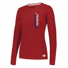 Women's LS UPF 30 Tech CVC Tee -True Red 'Left Chest Print Design' - Dietz & Watson Philadelphia Half Marathon